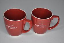 lot of 2 19.5 oz Starbucks 2010 Large Red Coffee Cup Mug  White Logo Bone China