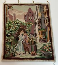 Vintage Finished Needlepoint Romantic Picture of Man and Woman in Europe Village