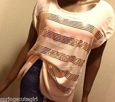 Rue 21 Blush Light Pink Shirt Loos Fit Sparkly Sequin Size ~ Medium Girl Teen