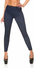 Damen Leggings Leggins Jeggings Treggings Jeans Look mit Zipper S 34 36 Hose eng