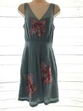 Lil Glimmering Magnolia Shift Dress Sz 6 Silk Sequins Floral Anthropologie Blue