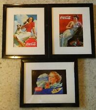 3 framed reproduction Coca-Cola Coke Advertisements