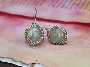 Labradorite Brass Seed Bead Sterling Silver Wire Wrapped Dangle Earrings
