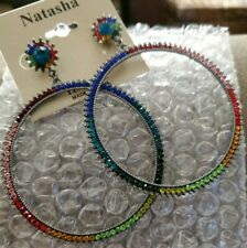 Natasha Multicolored Crystal Hoop Earrings