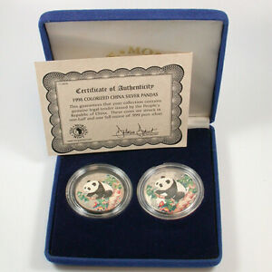 1998 Chinese colorized Panda 1oz and 1/2 oz silver coin Set with case