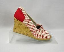 Toms Scarlett Multi Cross Stitch Peep Toe Cork Wedge Slip On Sandals Size 7