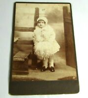 1880s Antique Cabinet Photo Adorable Girl In Shearling Coat & Hat Rustic Fence