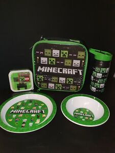 Minecraft Creeper Green Lunch Bag Box Set 2xSnack Pots Water Bottle Plate & Bowl