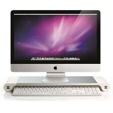 Aluminum Monitor Stand Riser Space Bar Desk Organizer 4 USB Ports for iMac, Mac