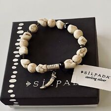Silpada .925 Silver Quartz Howlite Fossil Flecks Stretch Bracelet B3221 NWT