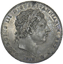 More details for 1818 lviii crown - george iii british silver coin - v nice