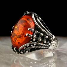 Handcrafted 925 Sterling Silver Men's Jewelry Baltic Amber Stone Men's Ring