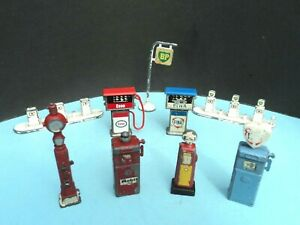 MATCHBOX AND OTHERS VINTAGE PETROL/AIR  PUMP AND SIGN JOBLOT x 8