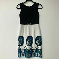 Eliza J Size 6 Dress Sheath Navy Colorblock Geometric Print Workwear Gold Clasp