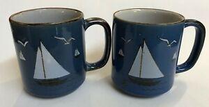 Set of 2 Vintage Otagiri Sailboat Mugs Blue with Brown, Speckled Japan