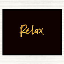 Black Gold Bold Relax Quote Dinner Table Placemat