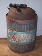 Antique Vintage Polo Kerosene Oil Can Spout- Pour Handle-Paper Label-Red Band