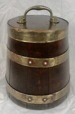 More details for antique coopered oak flour barrel, flour firkin, lidded, kitchenalia, treen