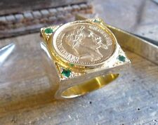 Seal ring gold square XXL with socket, piece 20 Francs Napoleon laure, 4 emerald