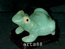 JADE CARVED FROG  Symbol Wealthy and Good Luck  Large