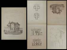VILLA A PONCIN - GRAVURES ARCHITECTURE 1890 - JOURNOUD
