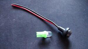 Tuner / Mod / Dashboard Light + Bulb Holder  12 volt Green LED - 12mm hole