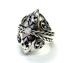 Men's Custom Diamond Silver Fleur De Li Ring With Angels Wings By Sacred Angels