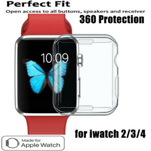For Apple Watch 6 5 4 3 2 soft silicon full protective screen TPU case 44/42/40/