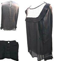Anthology Blouse Sz 18 Black Lace Bib Front Pleat Long Sleeve Goth Steam Punk