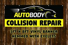 NEW AUTO BODY COLLISION REPAIR VINYL BANNER 3' X 8' HEMMED WITH EYELETS