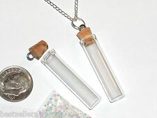 1pc Glass Clear perfume small bottle cork pendant vial fill locket Necklace*NEW