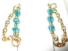 1 Pair Teal Gold Tarnish Resistant Ear Vines, Sweeps, Pins Chain Earrings