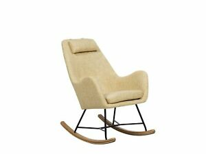 Modern Transitional Comfy Fabric Rocking Chair Wooden Skates Yellow Arrie