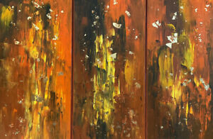 Original Abstract Acrylic Painting 3-series Piece With Gold Leaf Details