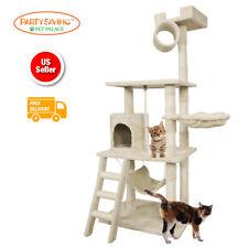"65"" Beige Cat Tree Scratcher Tower Condo Furniture Kitten Pet House Toys Tunnel"