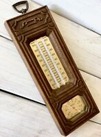 Vintage Springfield Wall Hang Weather Thermometer Barometer Faux Wood Untested