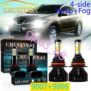 4PC 9007+9006 Combo for Nissan Murano 2003-2008 LED Headlight & Fog Bulbs 6000K