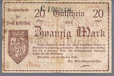 REUSED GERMANY NOTGELD ELBERFELD 20 MARKS 23.10.1918 VF - 2 SERIAL NUMBERS