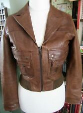 Ladies Beautiful Soft Genuine Brown Leather Jacket Size 12