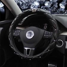 PU leather Steering Wheel Cover 38CM Car SUV Black Rhinestone  Crown styling