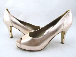 $525 DANA DAVIS Rose Gold Metallic Leather Peep Toe Pumps Shoes 10 Italy New