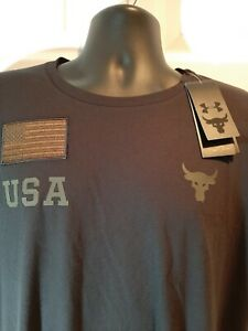 Under Armour Men's Project Rock Veterans Day Graphic T-Shirt LARGE NEW black
