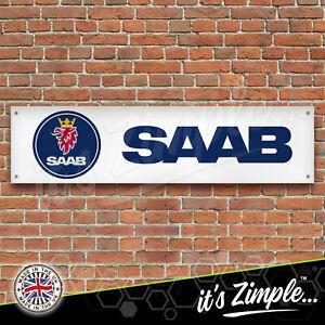 SAAB Banner Garage Workshop Sign Printed PVC Trackside Display