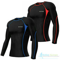 Activo Mens Long Sleeve Compression Top Base Layer T Shirt Running Gym Fitness