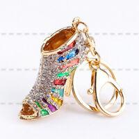 New Crystal Shoe High Heel Pendent Rhinestone Key Purse Bag Keyring Chain Gift