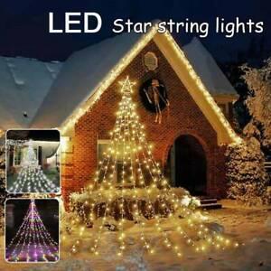 Solar LED Star Waterfall Light Christmas Tree Fairy String Lights Remote Control