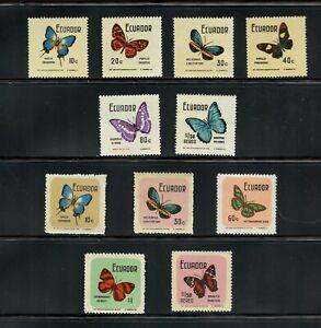 B334  Ecuador  1970   butterflies  SHORT-SET  11v.    MNH