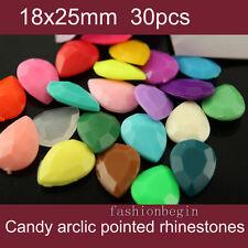 30p 25x18mm color teardrop Acrylic pointed back crystal rhinestones jewels stone
