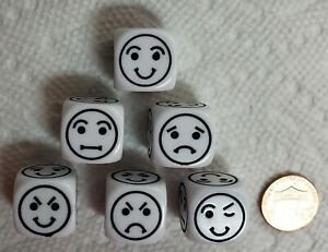 (6) Chx Smiley (& More) Faces Dice - 18mm OP White w/Black *Emojis* on All Sides