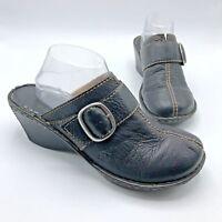 Born W31474 Women Black Leather Slip On Mule Shoe Size 11 EUR 43 Pre Owned